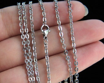 20'' Stainless Steel Flat Cable Chain with Lobster Clasp