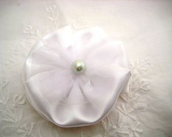 White Hair Bow -  Elegant Satin Fabric Hair Bow with Pearl Center - Wedding Accessory