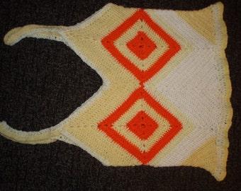 SALE Crochet multicolor vintage 1970s style hippie boho summer girls halter top vest blouse yellow white with tangerine orange ornaments