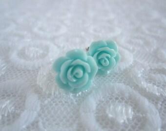 Turquoise earrings Petite Rose stud earrings Light Blue flower earrings Dainty post Earrings Bridesmaids jewelry Shabby chic style