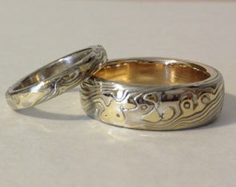 Tri Color mokume gane wedding band set yellow gold white gold and sterling etched