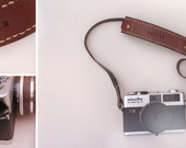 leather camera strap - brown and black