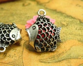 6 pcs Antique Silver Fish Charms Double Sided 18x17mm CH1379