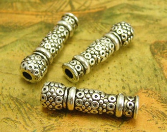 20 pcs Antique Silver Tube Beads Bubbly Metal Tube Beads 22x6mm CH1487