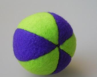 Catnip Fleece Ball Cat Toy Lime Green and Dark Purple
