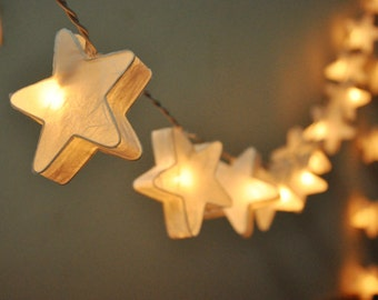 35 Bulbs fairy lights Handmade White mulberry paper Stars Lanterns Garland for wedding party decoration, fairy lights