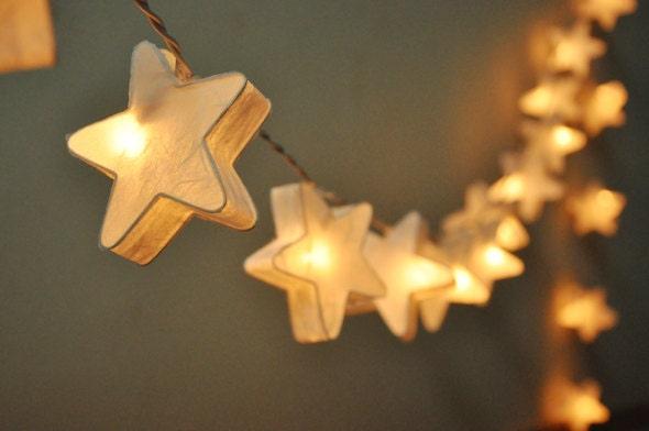 35 bulbs fairy lights handmade white mulberry paper stars for Paper star lamp