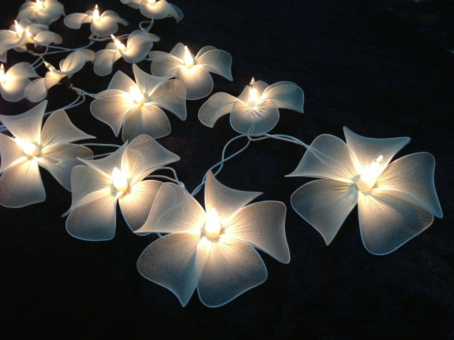 Custom Party String Lights : Handmade White flower string lights for PatioWeddingParty