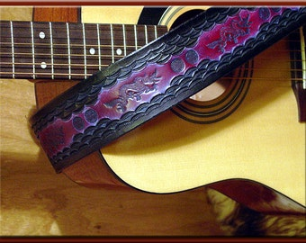 DRAGONS Design • A Beautifully Hand Tooled, Hand Crafted Leather Guitar Strap