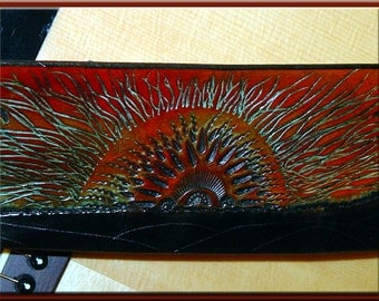 SUNRISE Design • A Beautifully Hand Tooled , Hand Crafted Leather Guitar Strap