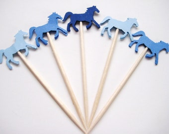 24 Mixed Blue Horse Party Picks - Cupcake Toppers - Toothpicks - Food Picks - die cut punch FP333
