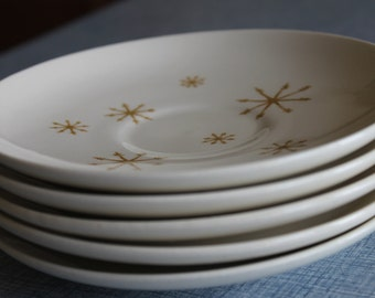 Vintage Gold Atomic Snowflake Coffee/Tea Plates   Royal China   RETRO   5 total