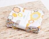 Large Cloth Napkins - Set of 4 - (N958) - Flower Floral Modern Reusable Fabric Napkins