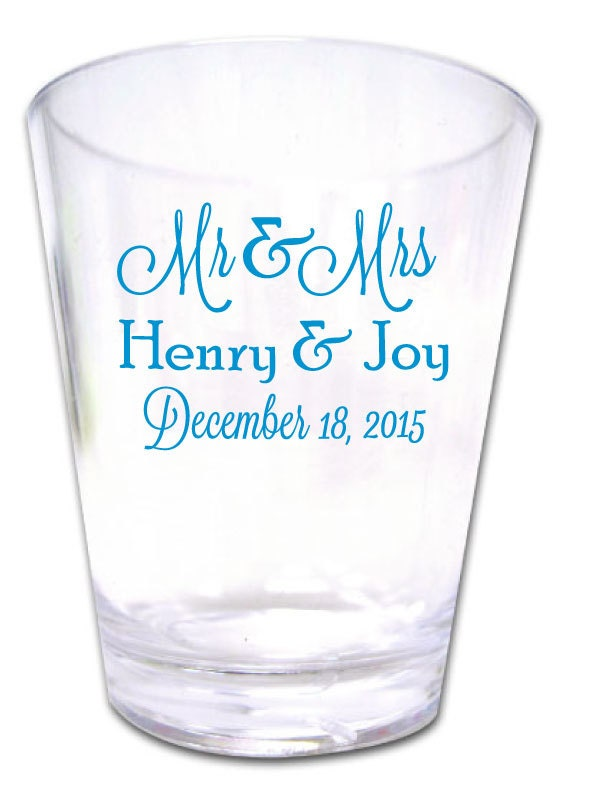 100 wedding favor custom personalized plastic shot glasses new