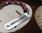 Ride for a Cure Bicycle Chain Key Chain Hand Stamped Personalized - KETEXT08
