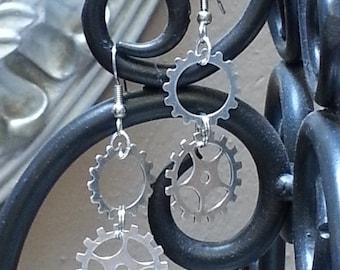Small Double Steampunk Gear Sprocket Earrings - EAGEAR03