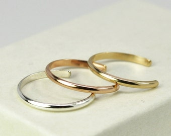 Toe Rings Stack, Mixed Metals, Adjustable, 14K Rose Gold fill, 14K Yellow Gold fill, Sterling Silver, Three Stacking Rings, Kristin Noel