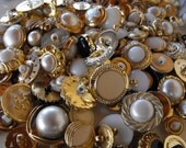 100 Bulk Fancy Gold Multi Size and Shape Buttons