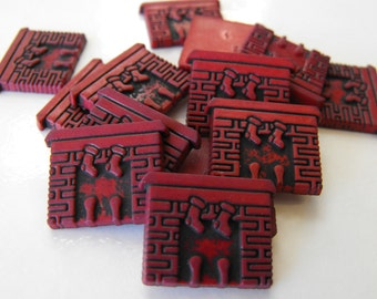 15 Burgundy Chimney Flat Back Buttons Size 3/4""