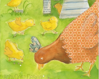 Chickens, Mother Hen, Baby, Yellow, Chicks, Children's Illustration, Vintage, Paper Collage, Watercolor,Print