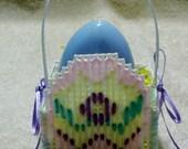 White Plastic Canvas Egg Easter Basket
