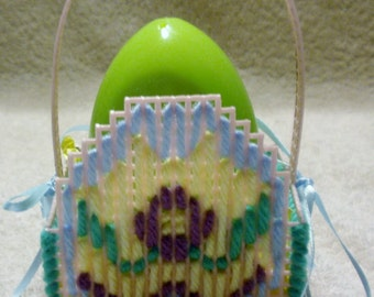 Pink Plastic Canvas Egg Easter Basket