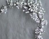 SALE Bridal Headpiece Tiara Headband Rhinestone and Pearl Hair Comb Accessory Wedding Jewelry Crystal Flower Side Tiara CM064LX