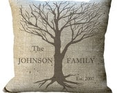 Burlap or Linen/Cotton Family Tree Custom in Choice of 14x14 16x16 18x18 20x20 22x22 24x24 26x26 inch Pillow Cover