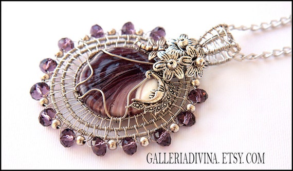 RESERVED - Violet glass pendant -wirewrapped - Moon and dragonfly