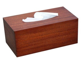 Wood tissue box cover antique mahogany from RJ Fine Woodworking