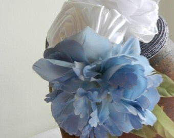 Blue Milan Straw Hat with Flowers on Headband