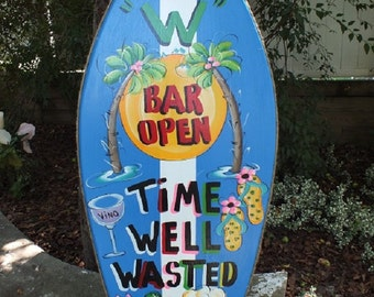 PERSONALIZED BOOGIE BOARD - Surfboard Wall Art Tropical Paradise Pool Patio Beach House Hot Tub Tiki Bar Hut Parrothead Handmade Wood Sign