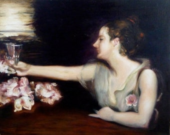 Madame X Oil Painting On Canvas By Renate Diroll After John Singer Sargent