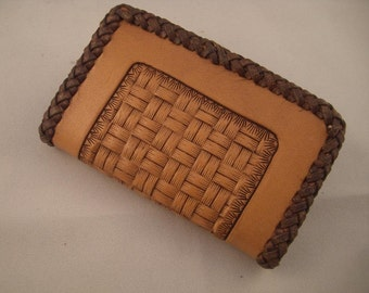 Leather Wallet or Business Card Holder, Handtooled Basketweave with Braided Edges