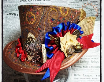 Mad Hatter, Alice in Wonderland, Steampunk Hat, Mini Top Hat, Festival Hat, Burning Man Hat, Lolita, Cosplay, Women Steampunk Hats, Circus
