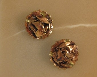 Vintage Copper and Brass Clip-On Earrings