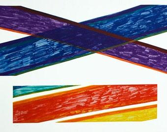 "Modernist Italian Lithograph - Piero Dorazio ""Embonas "" 1976 Hand Signed Free Shipping"
