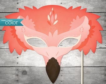 DIY Printable Flamingo Mask - Mardi Gras, Birthdays, Masquerade Ball, Weddings, or Halloween