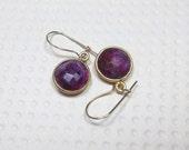 Dangle Earrings, Ruby Stone Earrings, Gold Filled , Round Bezel, Drop Earrings, Women's Jewelry