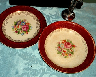 Maroon Rimmed Bowl and Plate With Floral Design by Salem, Ohio Pottery, Antique