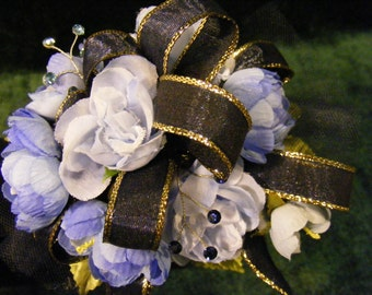 Wrist Corsage with Delphinium Blossoms, Navy and Gold Trimmed Ribbon and Rhinestones