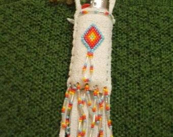 sun.fire.sky ~ Leather Lighter Holder Necklace : Winter White Elk Skin, Peyote Stitch
