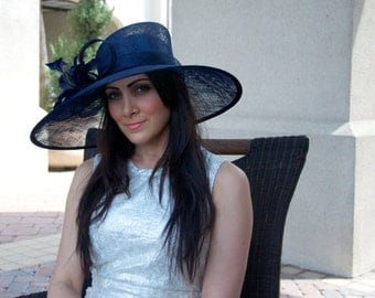 """Navy Sun Hat - """"Alexandria"""" Navy Wide Brimmed Fascinator Sun Hat w/ mesh flowers and feathers"""