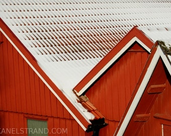 Abstract fine art print, red houses in the snow, travel photography, house picture, Norwegian houses, winter,