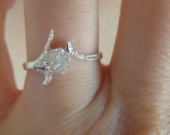 14 K solid gold- Snow white-Raw Rough Diamond - Solitaire- promise-one of a kind engagement ring- Any size- Made to order