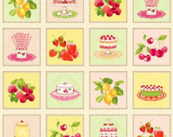 "Delicious Wishes Multi Sweets and Fruits  Patchwork Quilt 23"" x 44"" Panel by Jana Nielson for Henry Glass Fabrics"