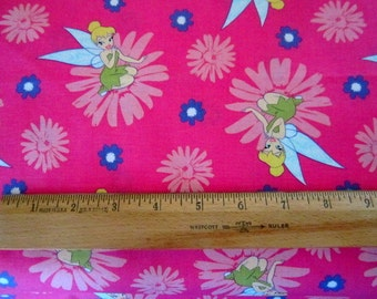 Disney Tinkerbell Happy Summer Floral Pink Cotton Fabric by Springs Creative