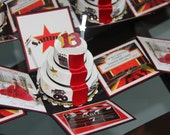 Hollywood Theme Exploding Box Invitation with 3-Tier Red Carpet Cake -(Initial Deposit)