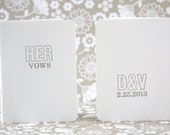 Custom His & Her Letterpress Vow Booklets - Midcentury Outline font letterpressed in gray