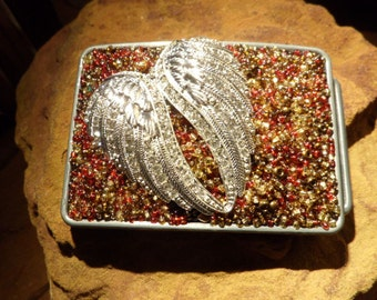 Beaded Belt buckle with Wings